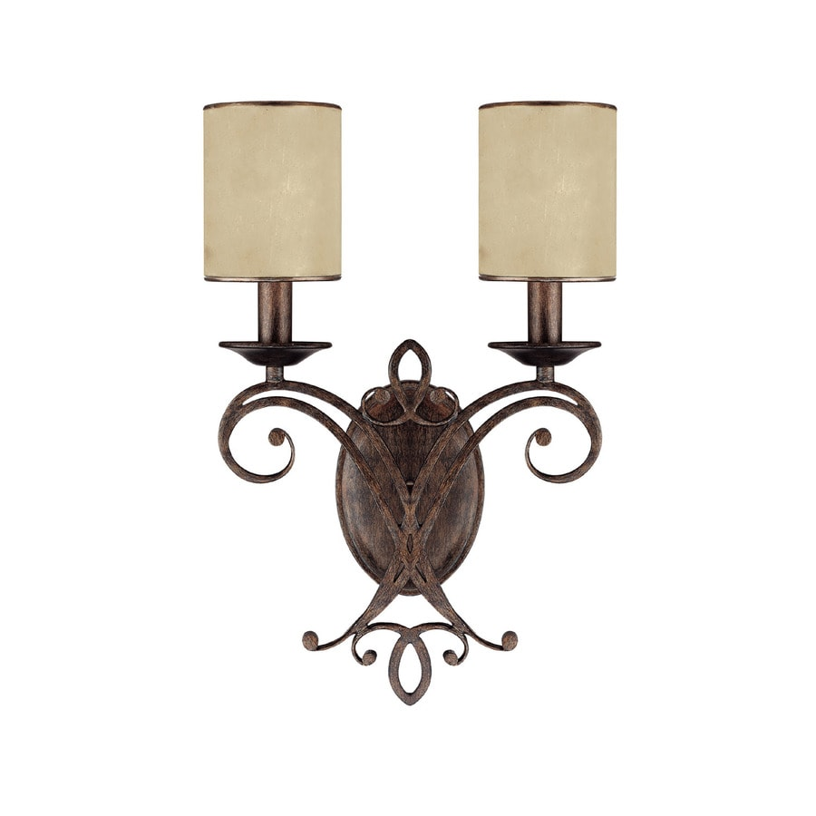 Shop Century 12-in W 2-Light Rustic Arm Hardwired Wall Sconce at Lowes.com