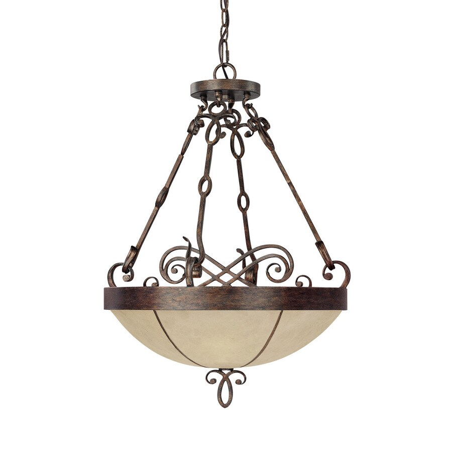 Century 21-in Rustic Single Marbleized Glass Pendant