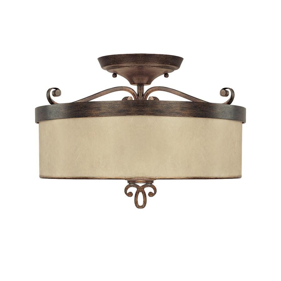 century 15 in w rustic textured semi flush mount light at. Black Bedroom Furniture Sets. Home Design Ideas