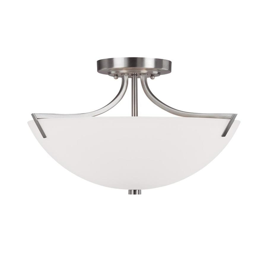 Century 17-in W Brushed Nickel Frosted Glass Semi-Flush Mount Light