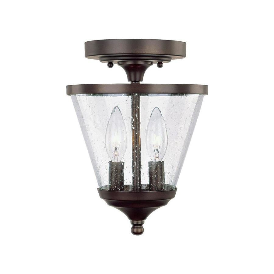 Century 7.25-in Burnished Bronze Single Clear Glass Pendant