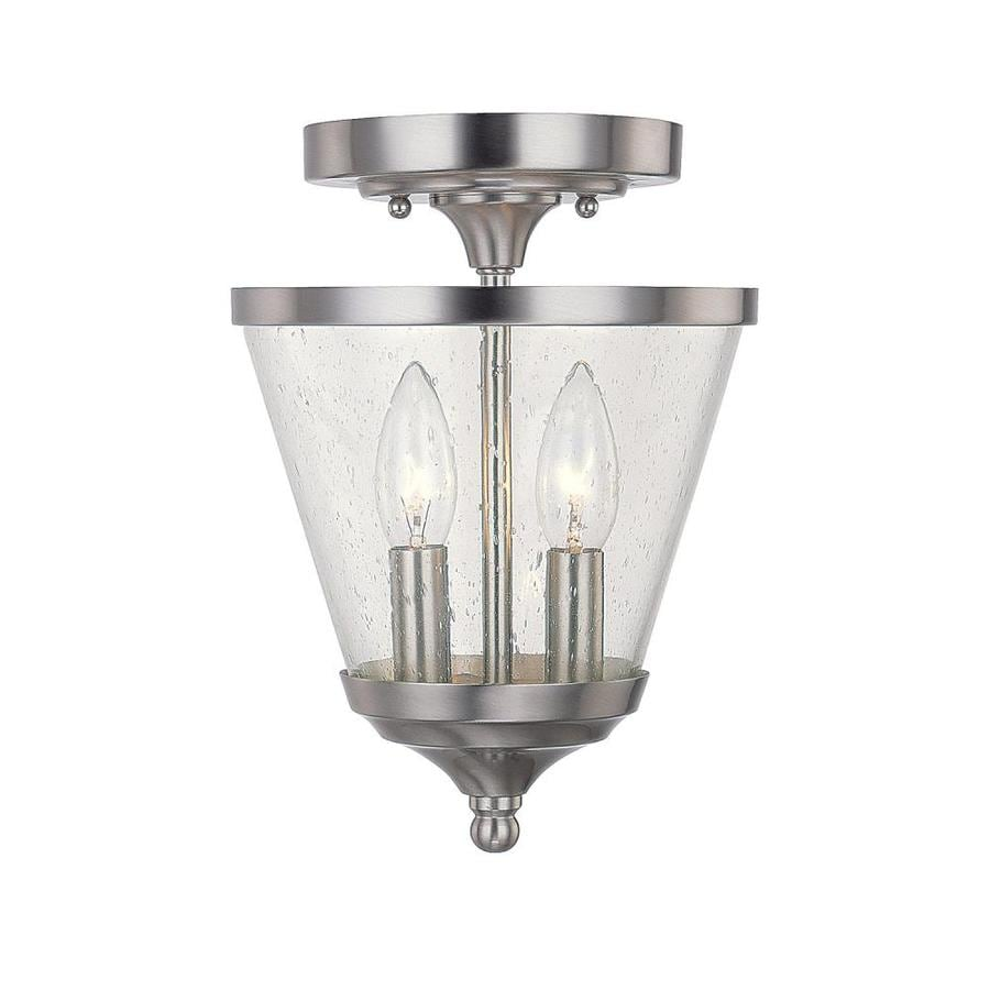 Century 7.25-in Brushed Nickel Single Clear Glass Pendant
