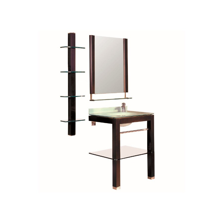 DECOLAV Espresso Integral Single Sink Birch Bathroom Vanity with Glass Top (Mirror Included) (Common: 28-in x 22-in; Actual: 27.5-in x 22.25-in)