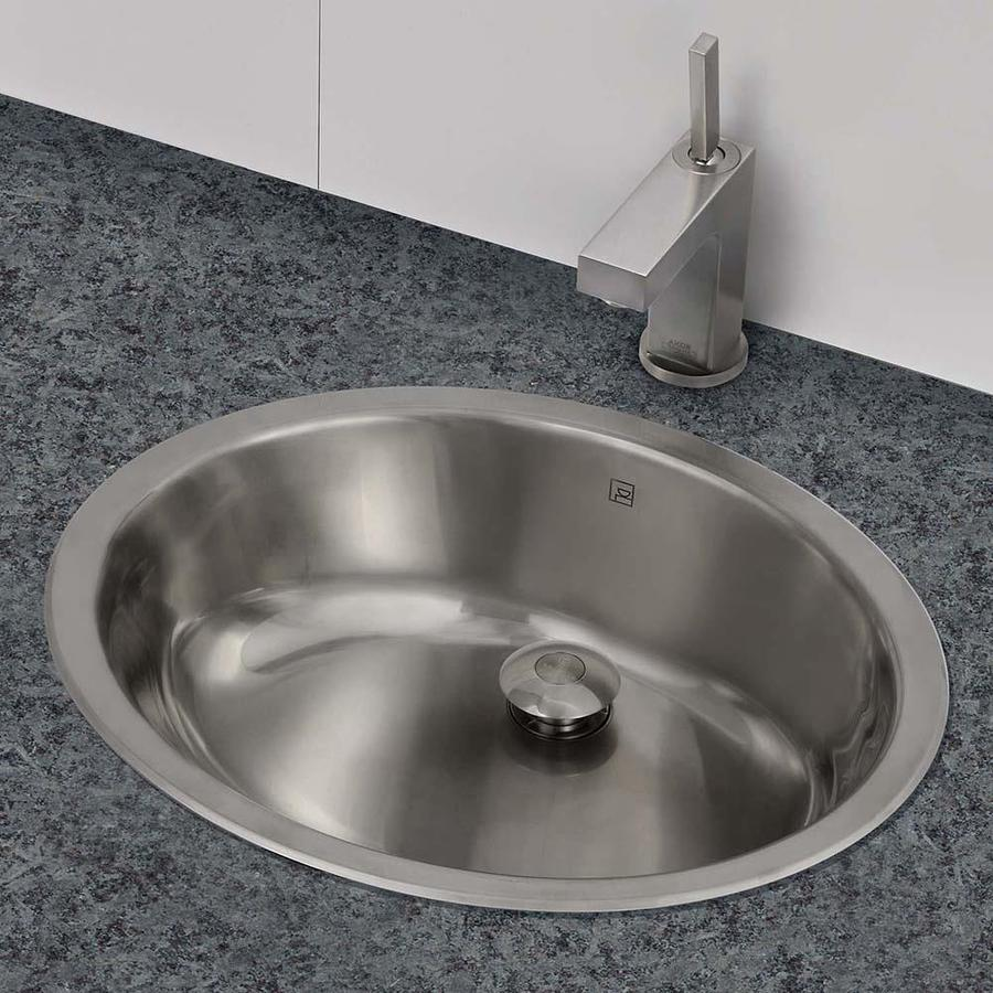 DECOLAV Simply Stainless Brushed Stainless Steel Undermount Oval Bathroom Sink with Overflow