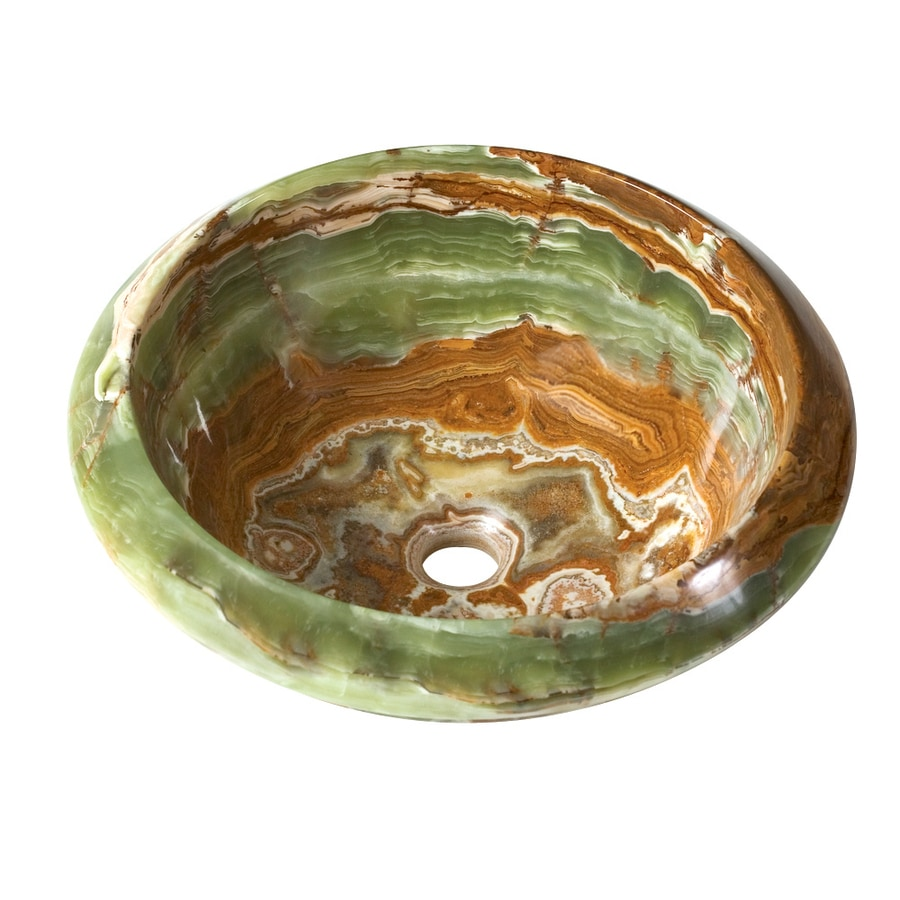 DECOLAV A Perfect Chisel Green Brown Stone Vessel Round Bathroom Sink