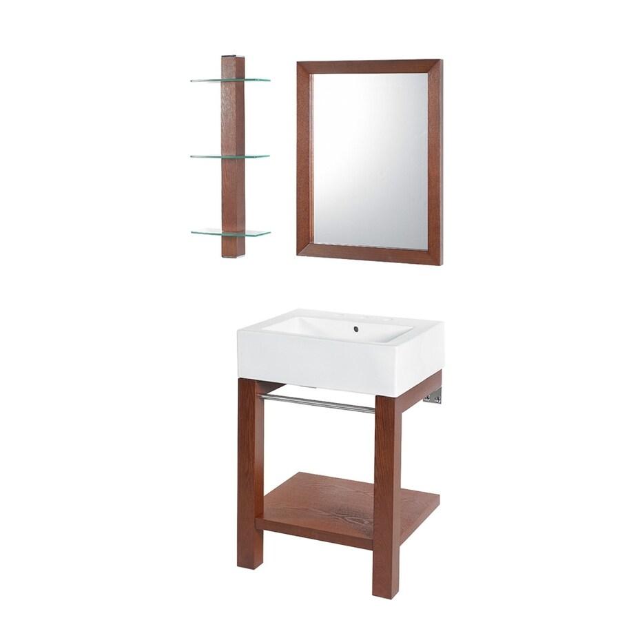 DECOLAV Bathroom Furniture 34-in H Walnut Vitreous China Pedestal Sink