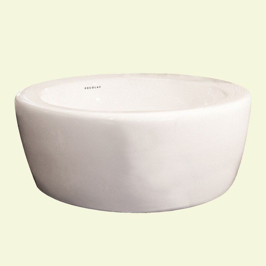 DECOLAV Classically Redefined White Vessel Round Bathroom Sink with Overflow