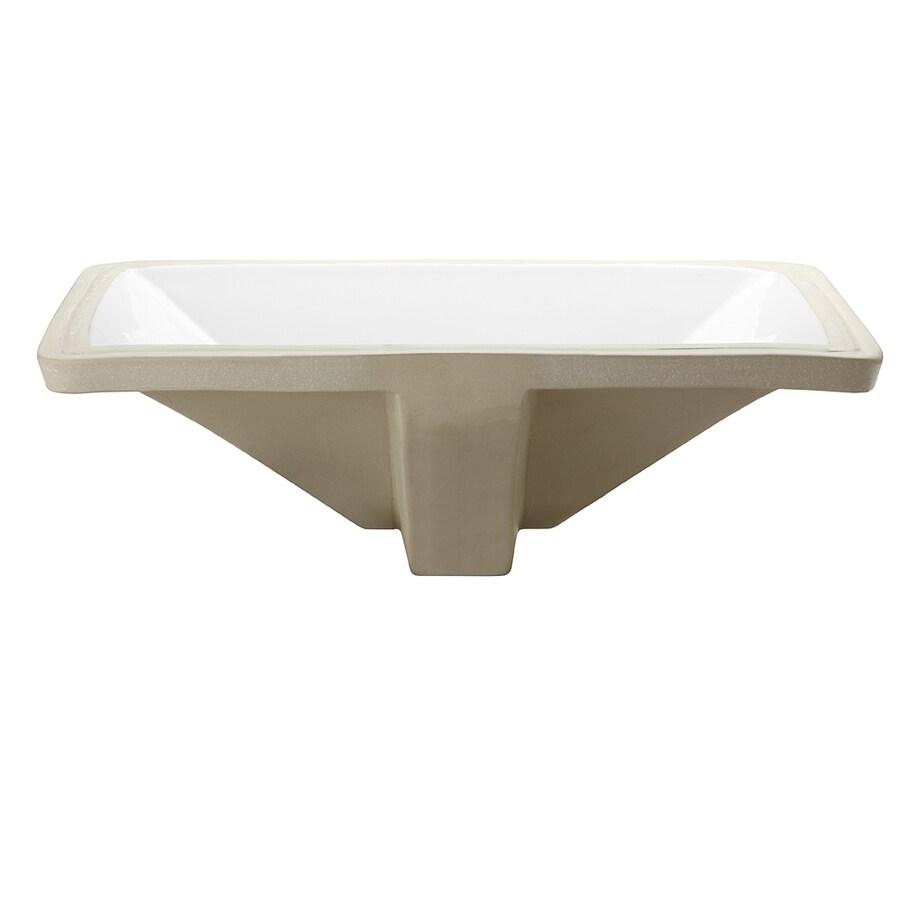 DECOLAV Classically Redefined White Undermount Rectangular Bathroom Sink with Overflow