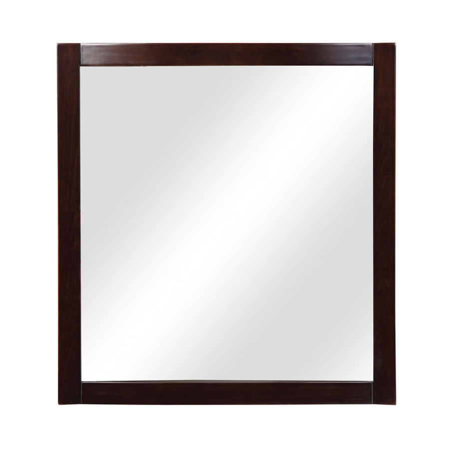 DECOLAV Alexandra 30-in W x 32-in H Dark Walnut Rectangular Bathroom Mirror