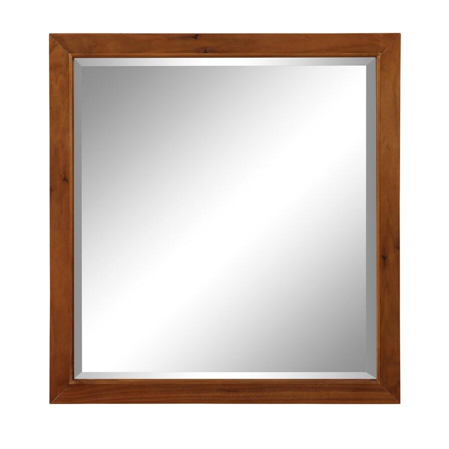 DECOLAV 31.88-in H x 30-in W Adrianna Collection Medium Walnut Rectangular Bathroom Mirror