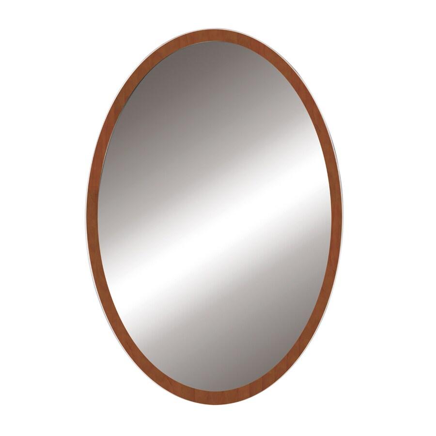 DECOLAV 32-in H x 24-in W Lola Collection Medium Walnut Round Bathroom Mirror
