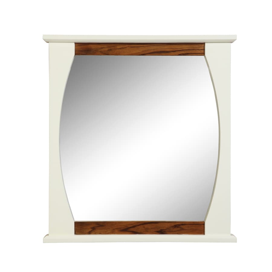 DECOLAV 32-in H x 30-in W Natasha Collection Black Lima White Gloss Rectangular Bathroom Mirror