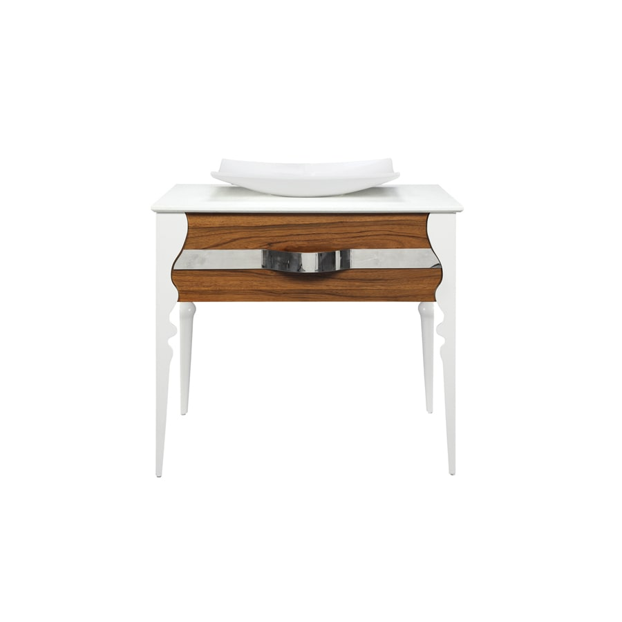 DECOLAV Natasha Black Limba White Gloss Vessel Single Sink Birch Bathroom Vanity with Solid Surface Top (Common: 37-in x 22-in; Actual: 37-in x 23.5-in)