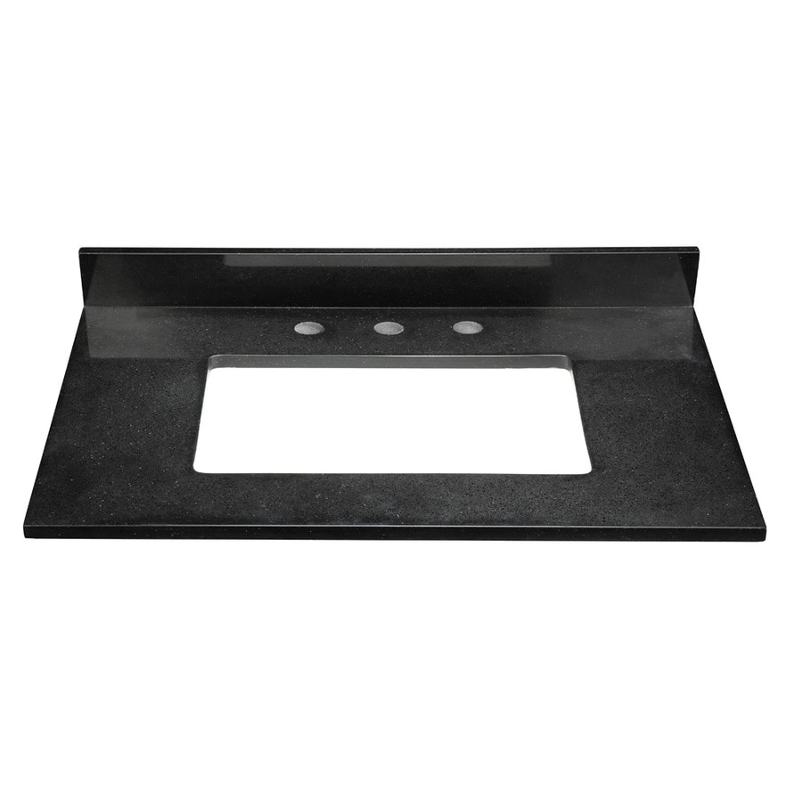 DECOLAV Briana Black Solid Surface Bathroom Vanity Top (Common: 31-in x 22-in; Actual: 31-in x 22-in)