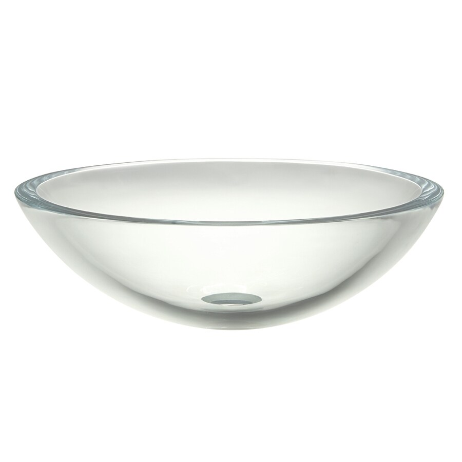 DECOLAV Translucence Transparent Crystal Glass Vessel Round Bathroom Sink