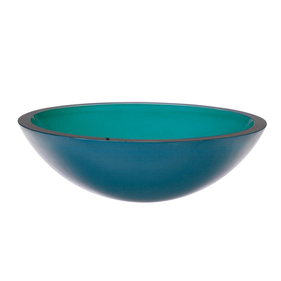 DECOLAV Translucence Painted Turquoise Glass Vessel Round Bathroom Sink