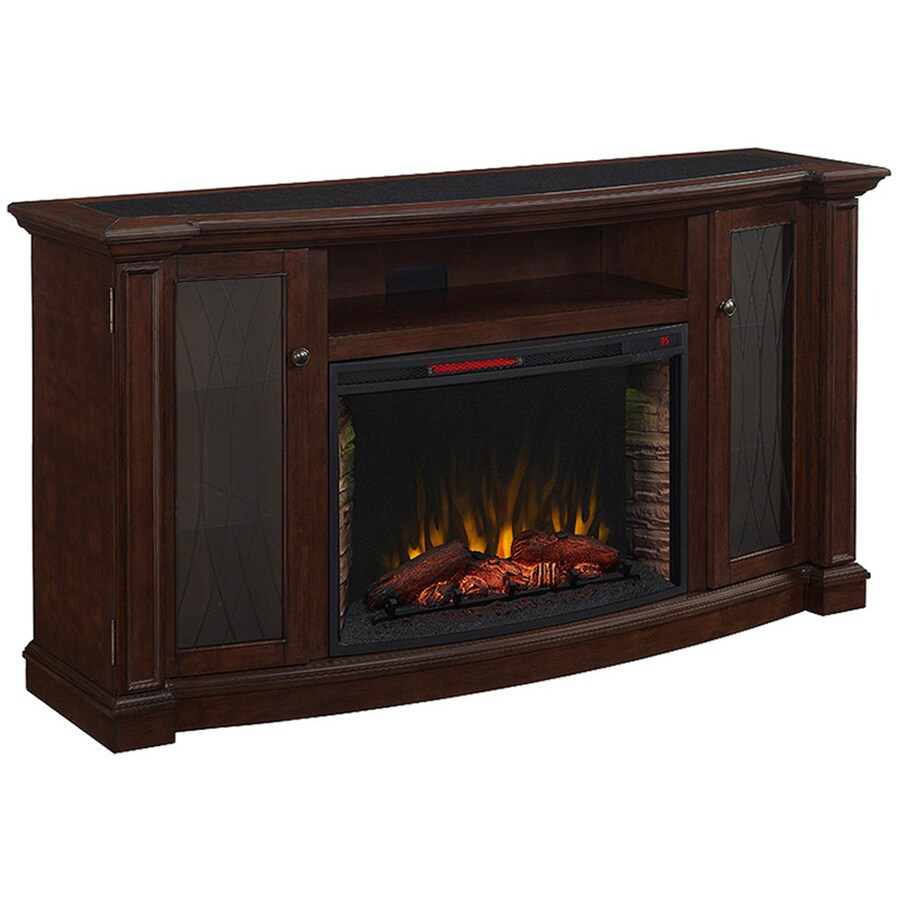 Shop 72 In W 5 200 Btu Dark Cherry Wood Infrared Quartz Electric Fireplace With Thermostat And