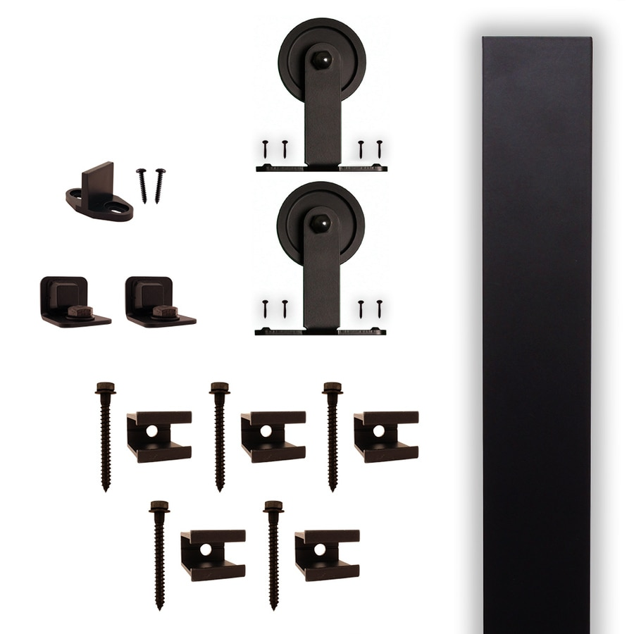 in matte black aluminum top mount sliding barn door kit at