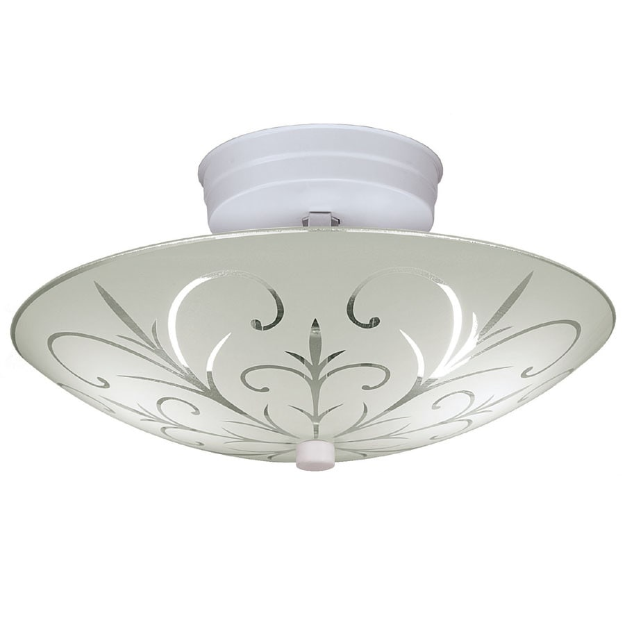 Project Source 11.73-in W White Frosted Glass Semi-Flush Mount Light