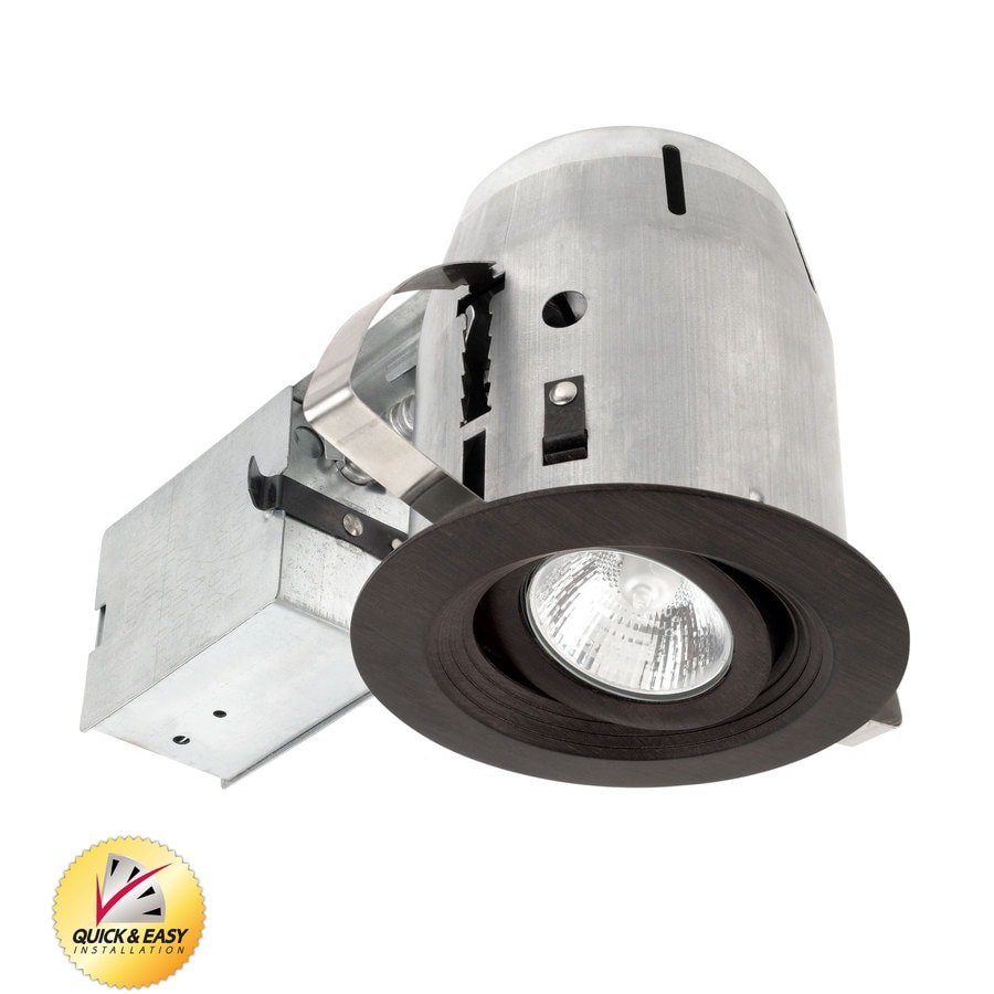 Shop Utilitech Bronze With Baffle And Gimbal Remodel Recessed Light Kit Fits Opening 4 In At