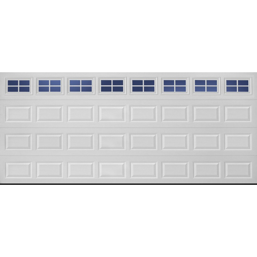 Pella Traditional Series 192-in x 84-in White Double Garage Door with Windows