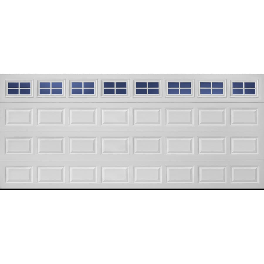 Traditional Series 192-in x 84-in White Double Garage Door with Windows Product Photo