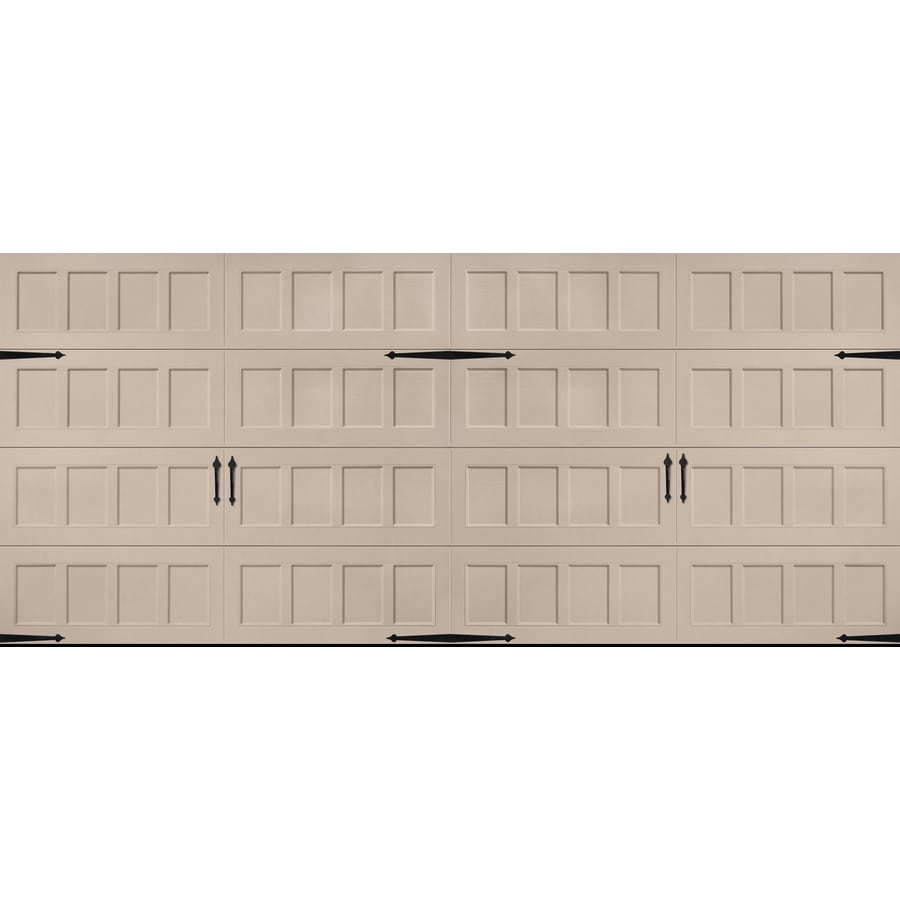 Carriage House Series 192-in x 84-in Insulated Sandtone Double Garage Door Product Photo