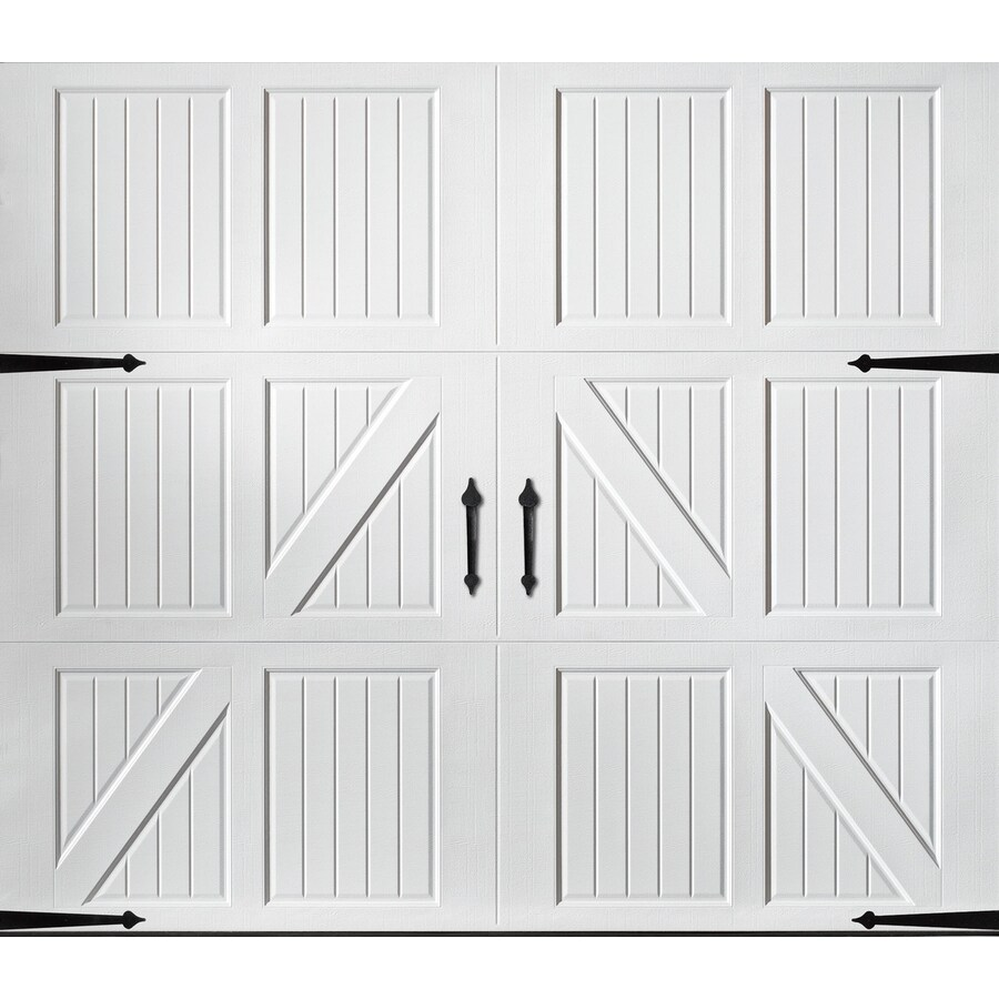Pella Carriage House Series 108-in x 84-in White Single Garage Door