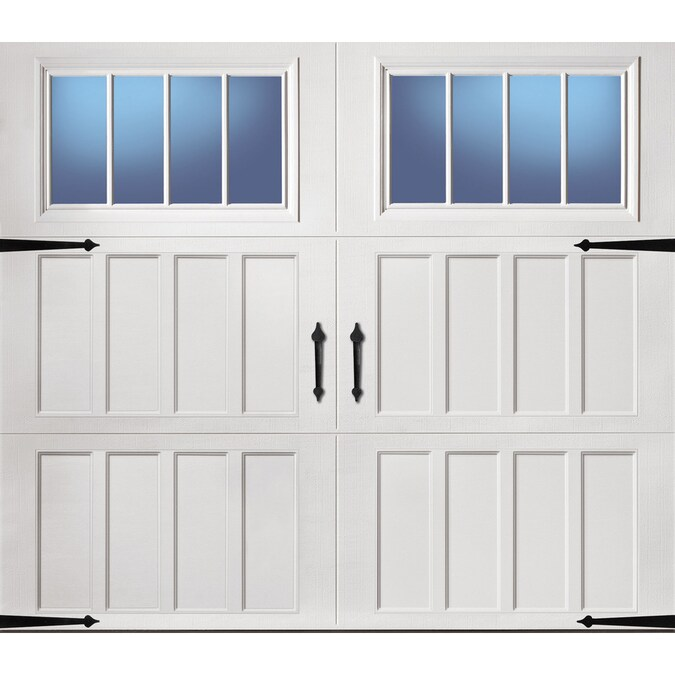 Pella Carriage House 96 In X 84 In Insulated White Single Garage Door With Windows In The Garage Doors Department At Lowes Com