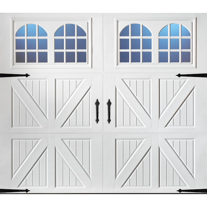 Pella Carriage House 108 In X 84 In Insulated White Single Garage Door With Windows In The Garage Doors Department At Lowes Com
