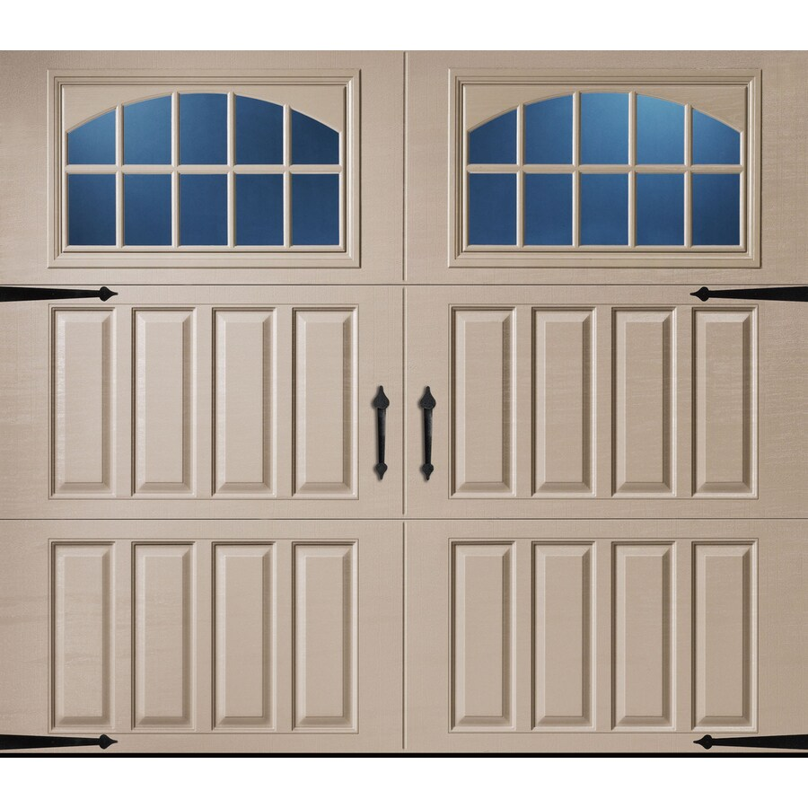 Pella Carriage House Series 108-in x 84-in Insulated Sandtone Single Garage Door with Windows