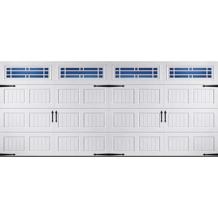 Carriage House Series 192-in x 84-in Insulated White Double Garage Door with Windows Product Photo