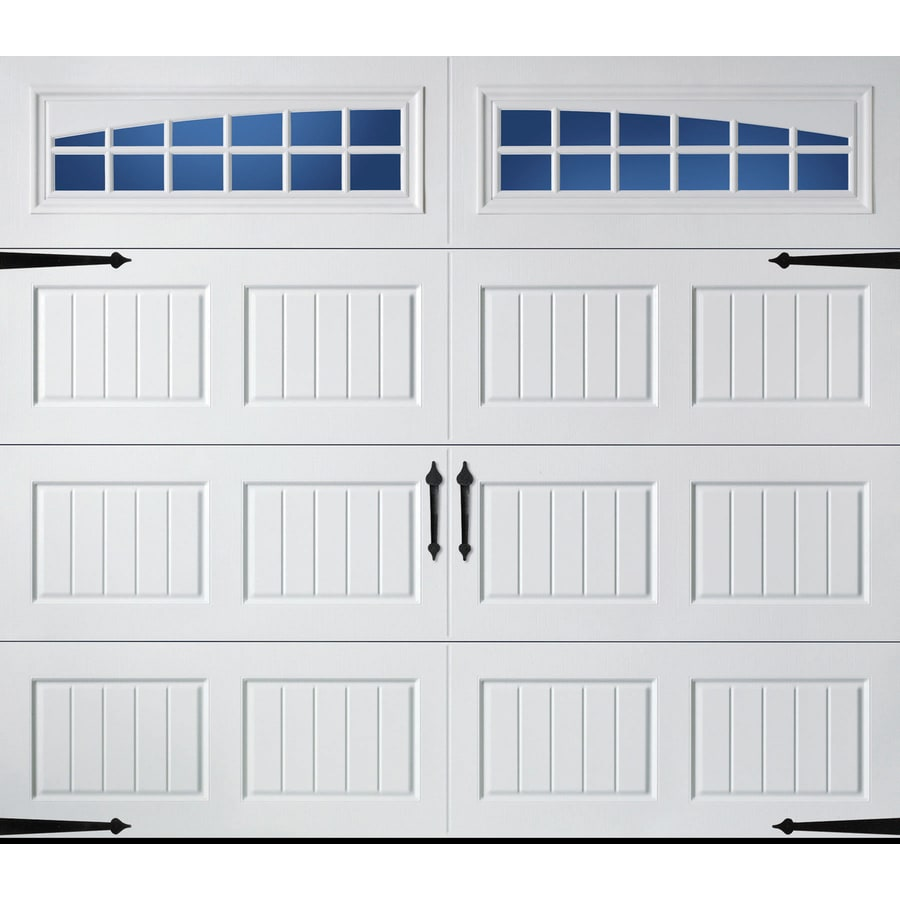 Carriage House Series 96-in x 84-in Insulated White Single Garage Door with Windows Product Photo