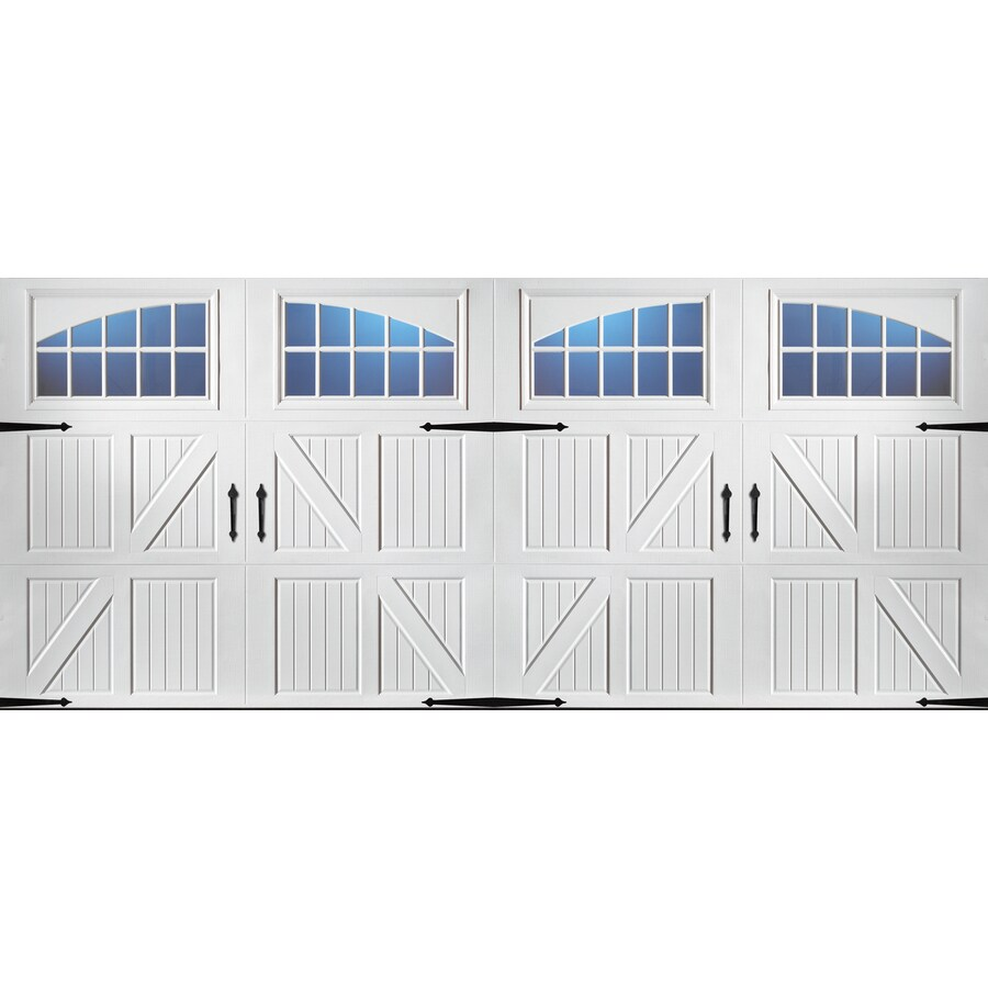 Carriage House Series 192-in x 84-in White Double Garage Door with Windows Product Photo