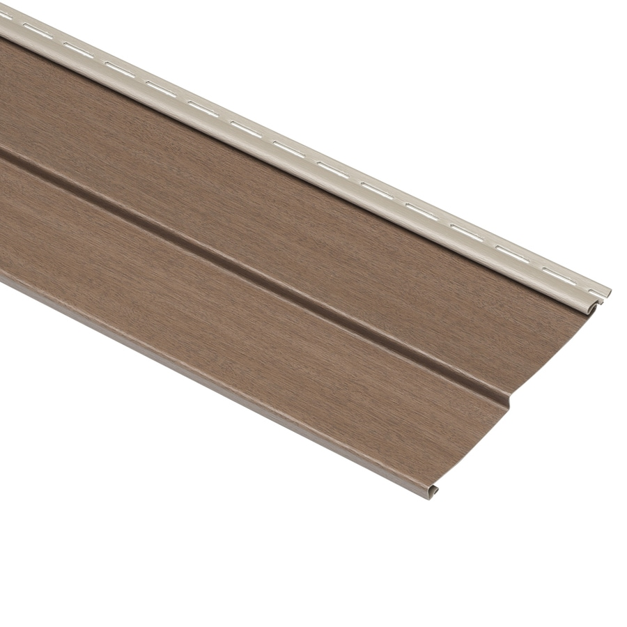 Compass 8-in x 150-in Hearthstone Brown and Wood Grain Double 4 Traditional Vinyl Siding Panel