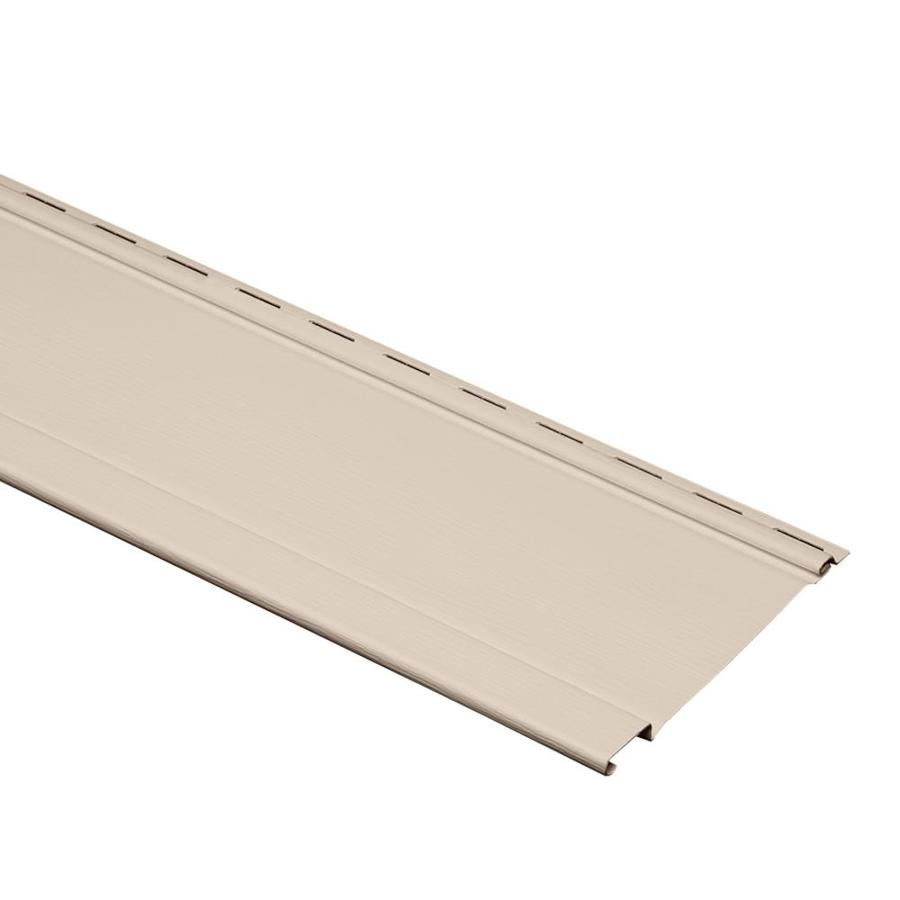 7-in x 120-in Beige and Wood Grain Board and Batten Vinyl Siding Panel