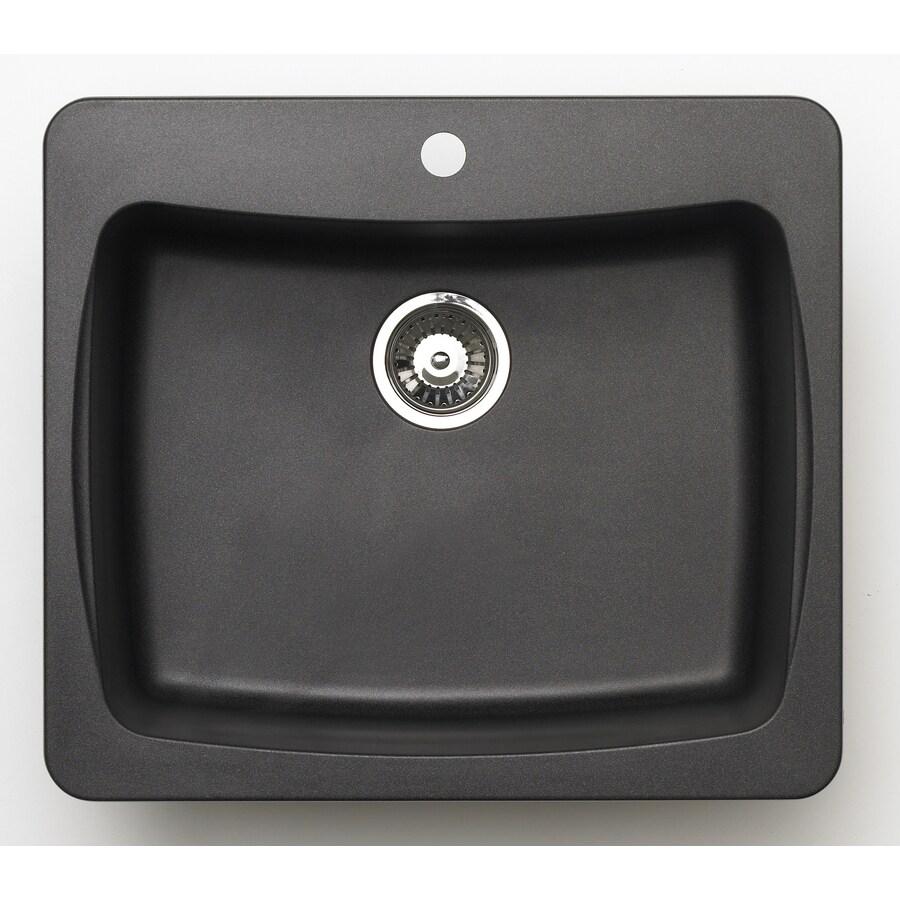 Jacuzzi 22-in x 25-in Metallic Black Single-Basin Granite Drop-In or Undermount Kitchen Sink