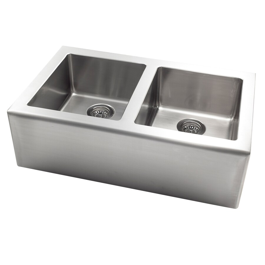 Jacuzzi 20-in x 33-in Stainless Steel Double-Basin Apron Front/Farmhouse Kitchen Sink