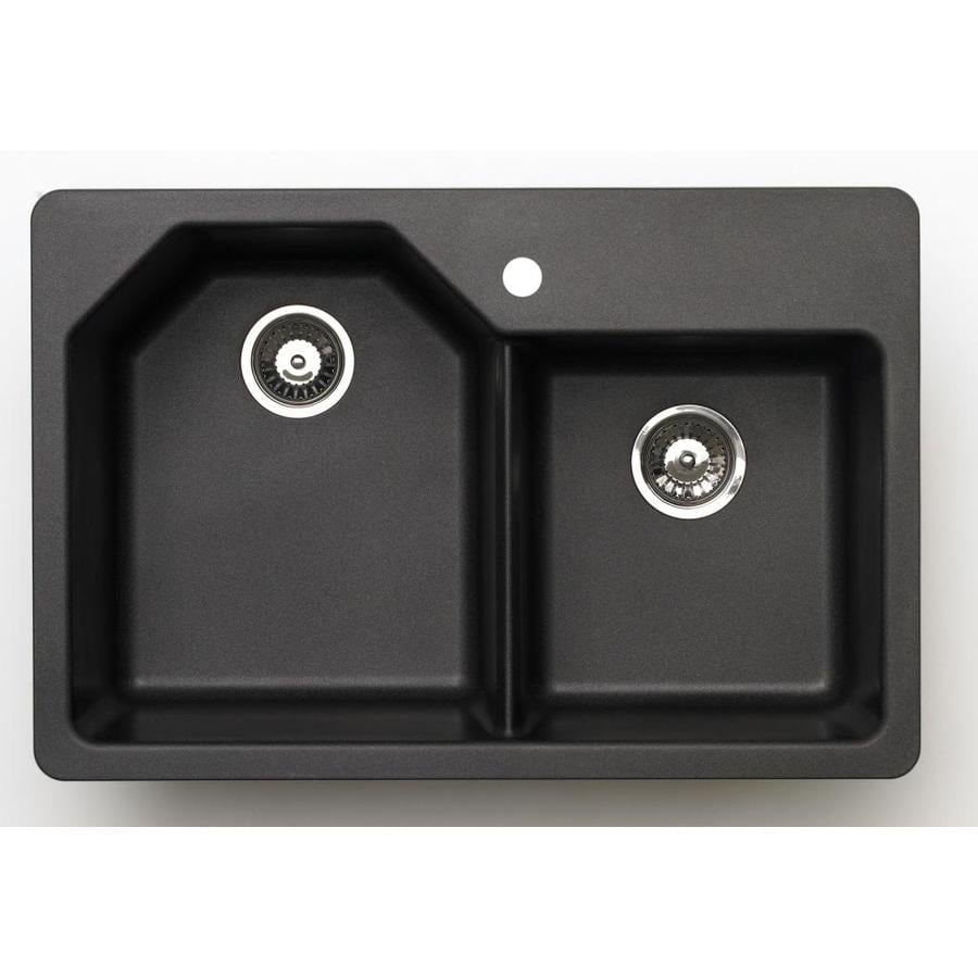 Black Double Sink Kitchen : ... Metallic Black Double-Basin Granite Drop-In or Undermount Kitchen Sink
