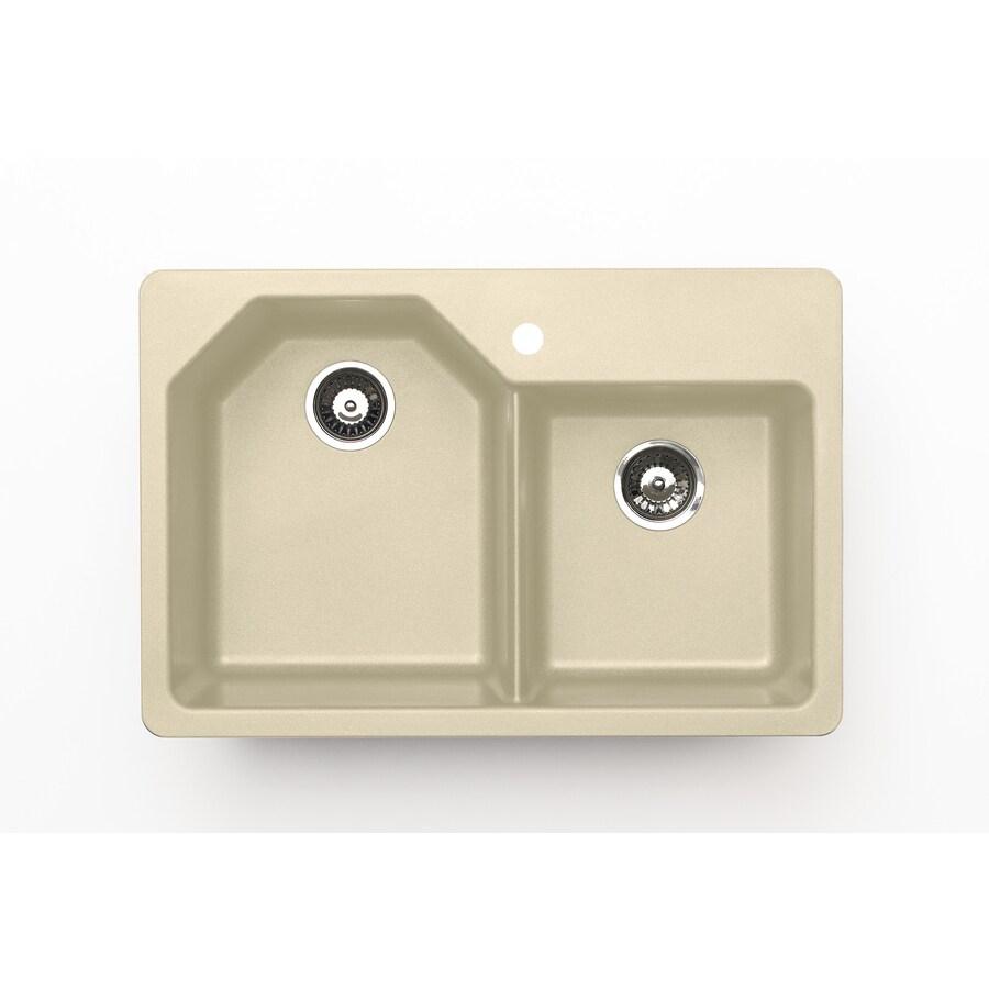 Jacuzzi 22-in x 33-in Sahara Beige Double-Basin Granite Drop-In or Undermount Kitchen Sink
