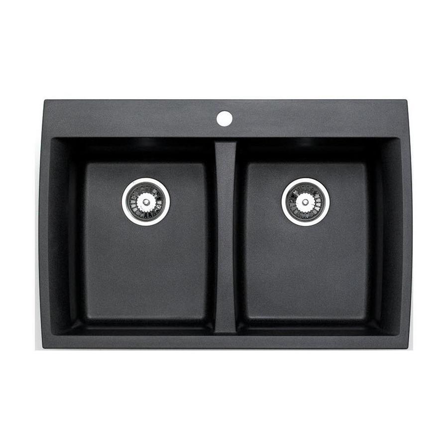 Jacuzzi 22-in x 33-in Metallic Black Double-Basin Granite Drop-In or Undermount Kitchen Sink