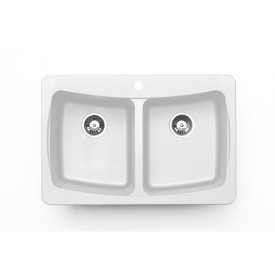 Jacuzzi 22-in x 33-in White Double-Basin Granite Drop-In or Undermount Kitchen Sink