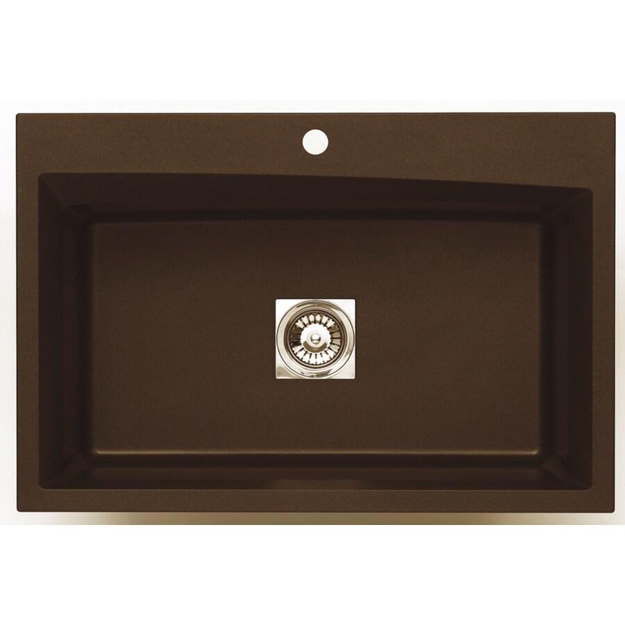 Jacuzzi 22-in x 33-in Chocolate Metallic Single-Basin Granite Drop-In or Undermount Kitchen Sink