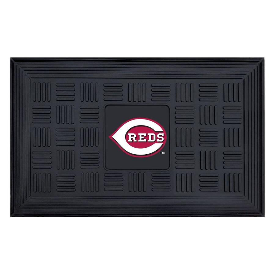 FANMATS Black with Official Team Logos and Colors Cincinnati Reds Rectangular Door Mat (Common: 19-in x 30-in; Actual: 19-in x 30-in)