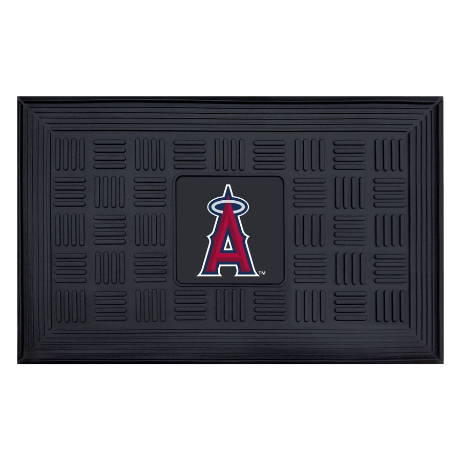 FANMATS Black with Official Team Logos and Colors Los Angeles Angles Rectangular Door Mat (Common: 19-in x 30-in; Actual: 19-in x 30-in)