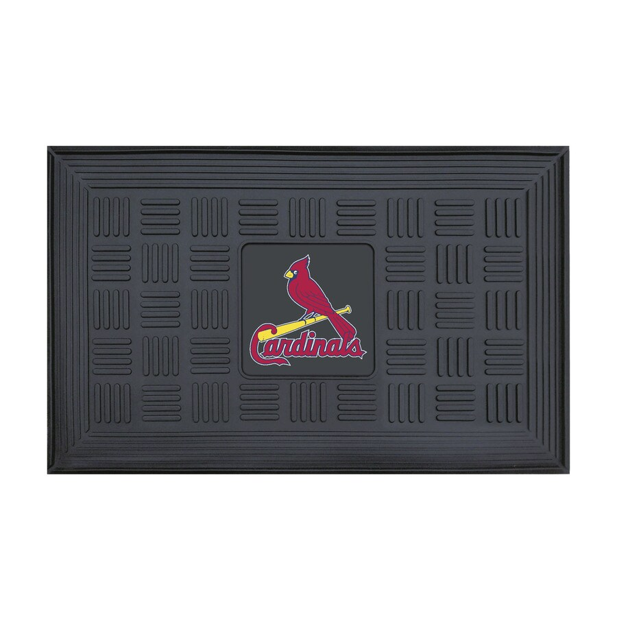 FANMATS Black with Official Team Logos and Colors St Louis Cardinals Rectangular Door Mat (Common: 19-in x 30-in; Actual: 19-in x 30-in)
