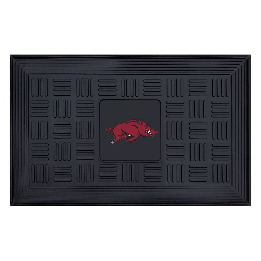 FANMATS Black with Official Team Logos and Colors University Of Arkansas Rectangular Door Mat (Common: 19-in x 30-in; Actual: 19-in x 30-in)