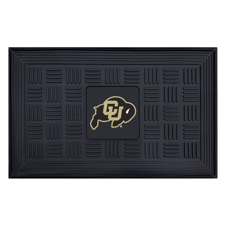 FANMATS Black with Official Team Logos and Colors University Of Colorado Rectangular Door Mat (Common: 19-in x 30-in; Actual: 19-in x 30-in)