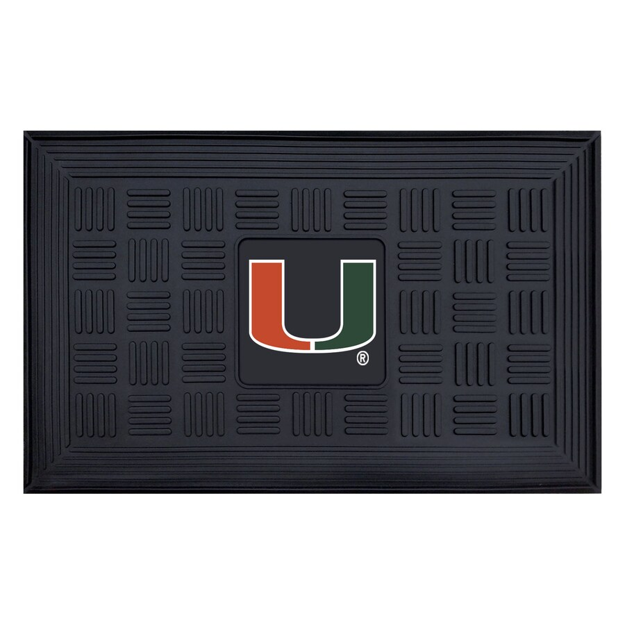 FANMATS Black with Official Team Logos and Colors University Of Miami Rectangular Door Mat (Common: 19-in x 30-in; Actual: 19-in x 30-in)