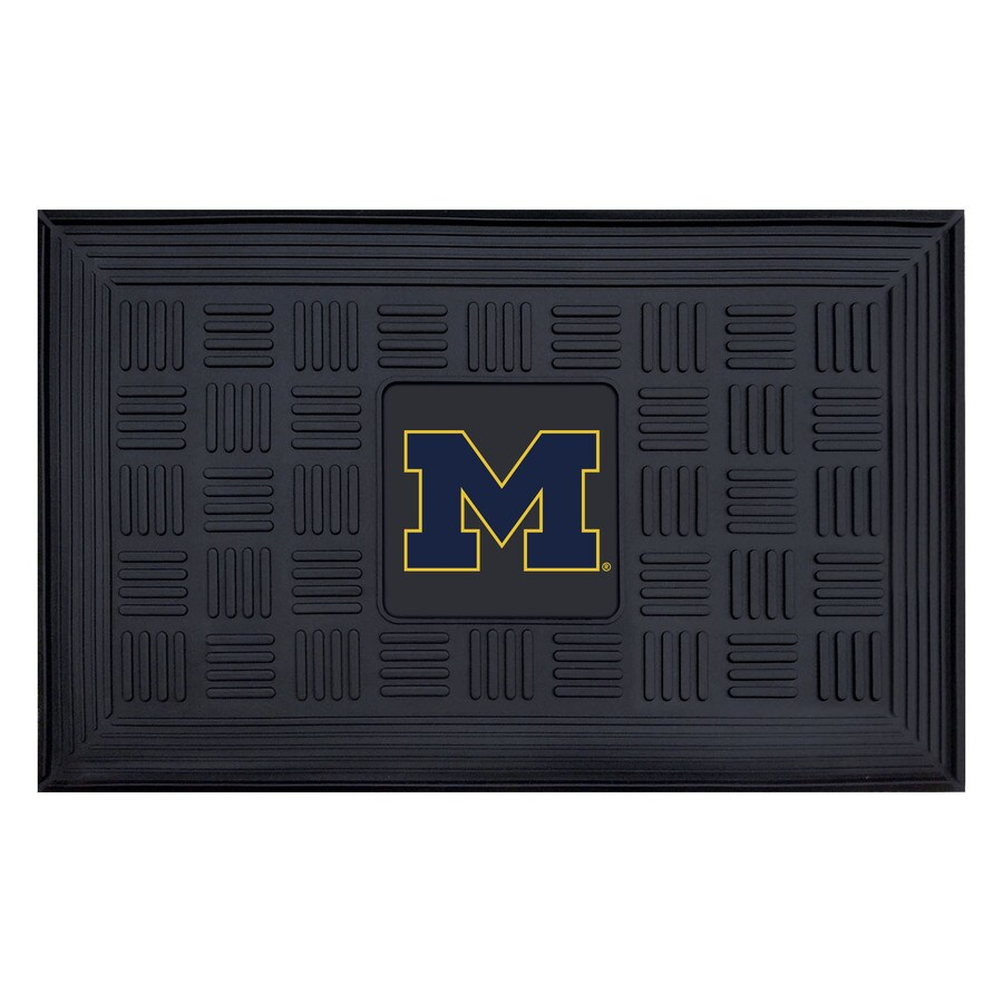 FANMATS Black with Official Team Logos and Colors University Of Michigan Rectangular Door Mat (Common: 19-in x 30-in; Actual: 19-in x 30-in)